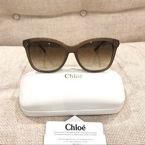 NWT Chloé Boxwood Cat Eye Rhinestone Sunglasses